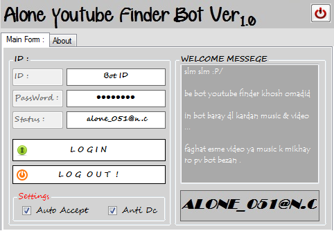 Bot Finer Youtube Searche Music & Video New by : Alone_051@n.c Bot